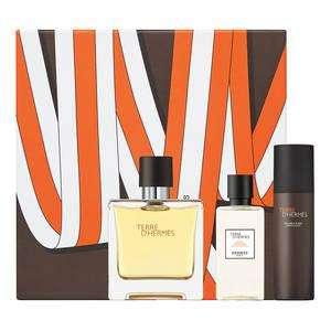 Sélections de coffrets parfum Hermès soldés - Ex : Les Sangles Terre d'Hermès (Parfum vaporisateur 75 ml , mousse à raser 50 ml, lotion après-rasage 40 ml)