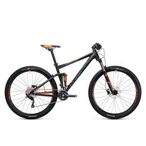 Vélo VTT Cube Stereo 120 HPA Pro black´n´flashorange 2017, taille L