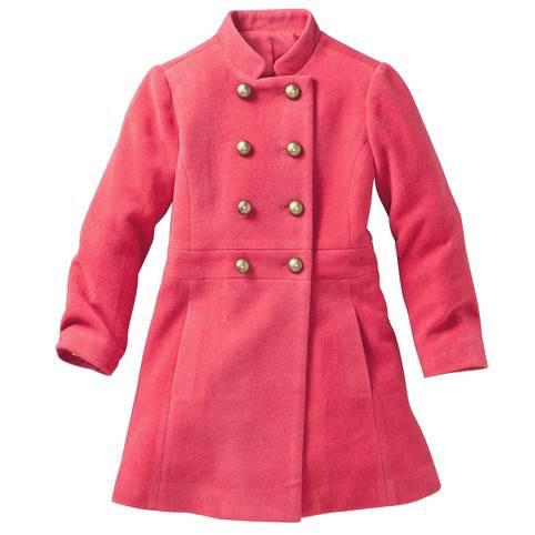 Manteau fille en drap de laine col officier