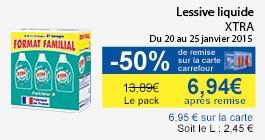 Pack de  3 Lessives liquides Xtra (50% sur la carte)
