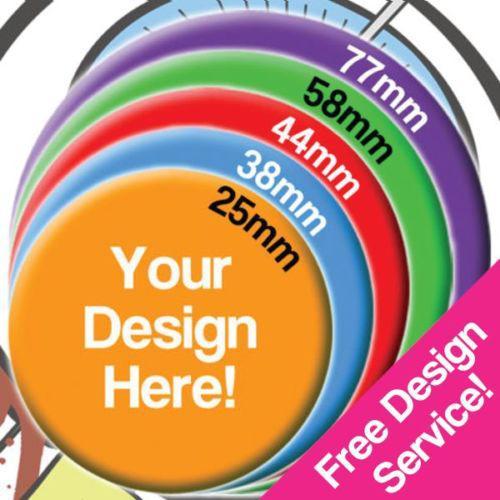 Badges personnalisables de différentes tailles à prix intéressant - ex : 100 pièces en 25 mm