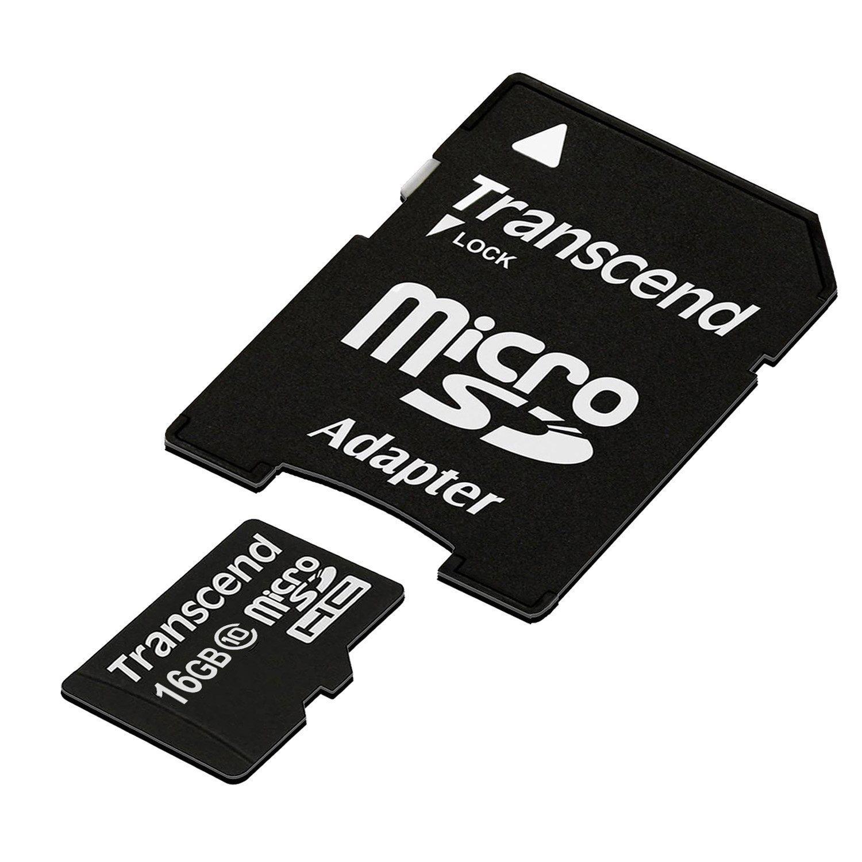 Carte mémoire microSDHC Classe 10  Transcend 16 Go avec adaptateur