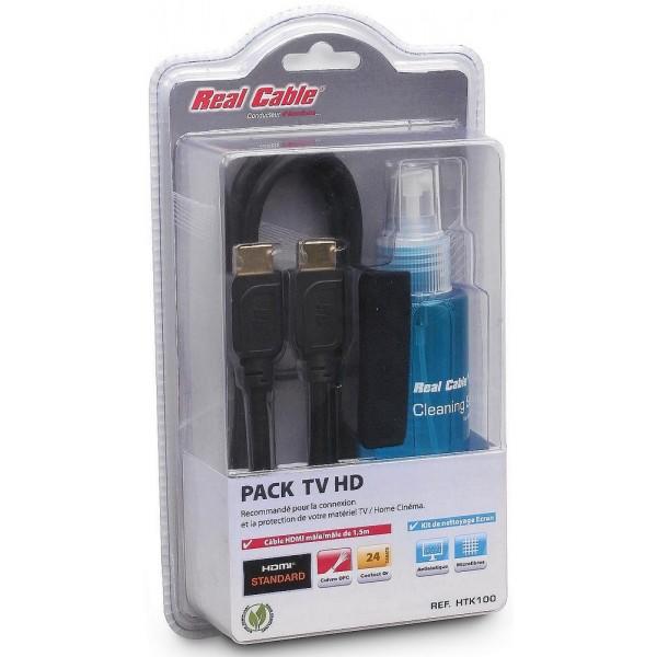 Pack TV HD : câble HDMI 1,5 métres + spray nettoyant + chiffon