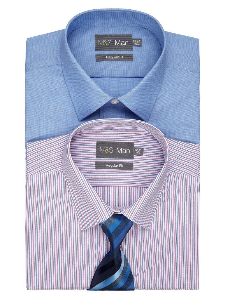 Lot de deux chemises avec cravate MS Collection