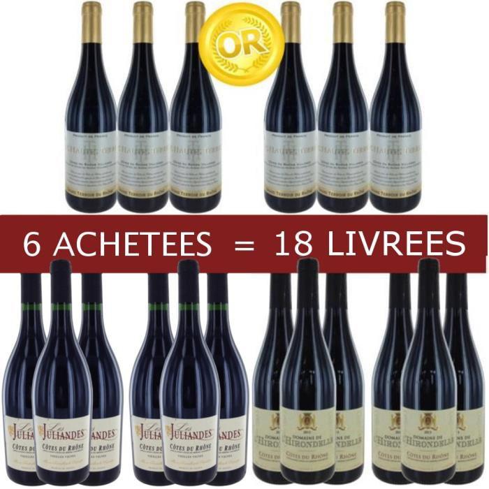 18 bouteilles des Côtes du Rhône Médaillés