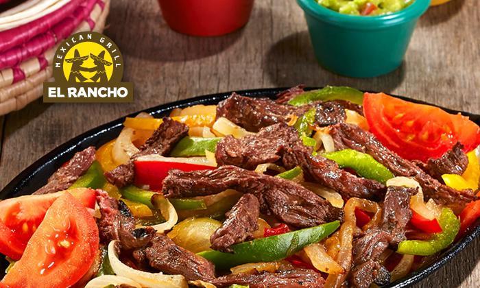 un plat acheté chez El Rancho = un plat au choix offert pour l'achat d'un coupon