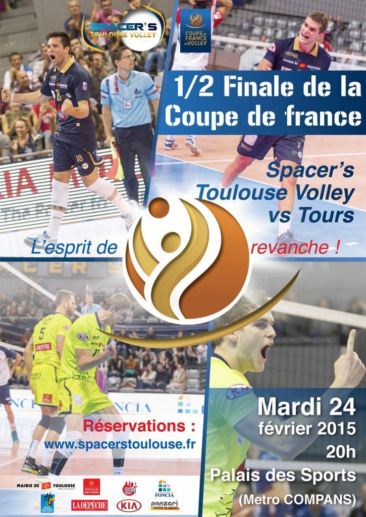 Place gratuite pour la 1/2 Finale de la Coupe de France de Volley (Toulouse vs Tours)
