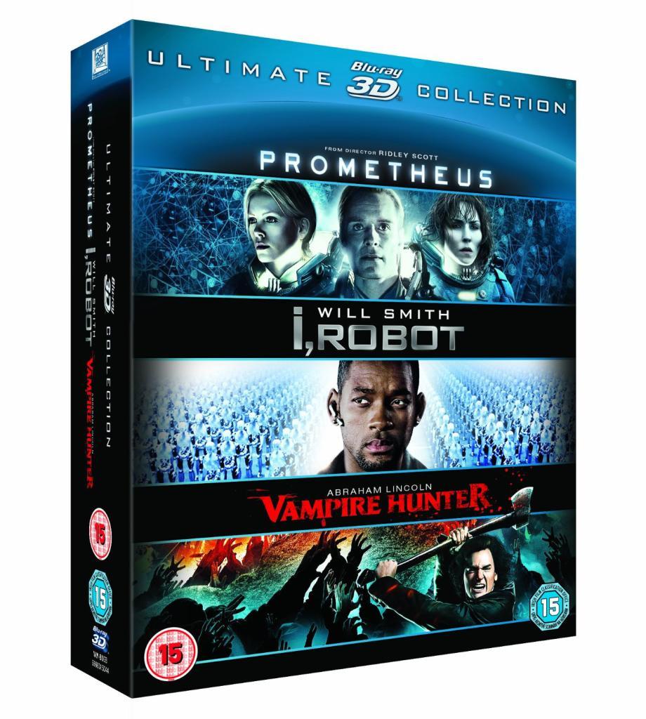 Coffret Blu-ray 3D - Prometheus / I Robot / Abraham Lincoln : Chasseur de Vampires
