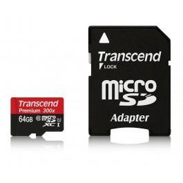 Carte mémoire microSDXC Transcend 64 Go - Classe 10 UHS-I 300x avec adaptateur