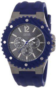 Montre homme Guess W11619G2 (bracelet en silicone) - Bleu marine