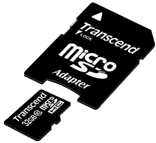 Carte mémoire microSDHC Transcend 32 Go Classe 10 avec adaptateur