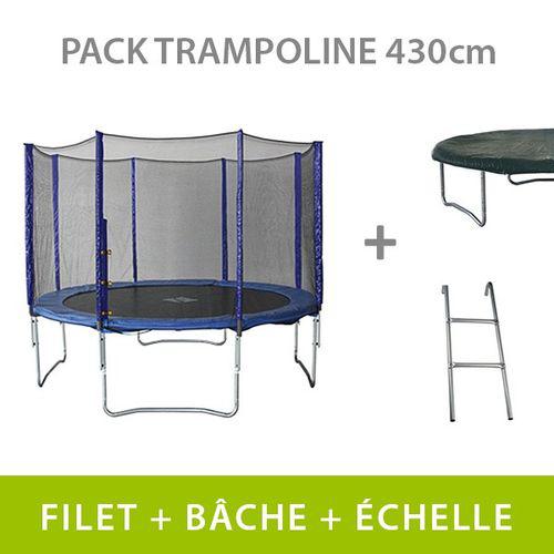 Trampoline 430 cm + filet + échelle + bâche de protection