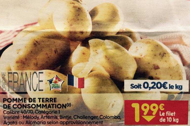 Pommes de terre - différentes variétés, origine France, 10 kg à