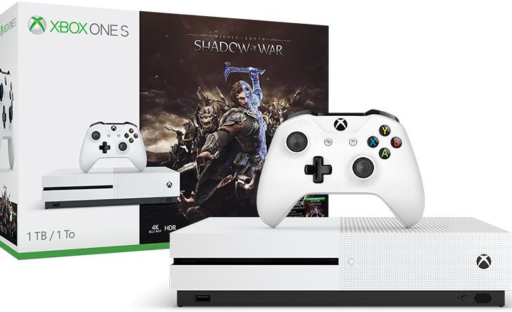 Pack Console Xbox One S L'ombre de la Guerre (Blanc) - 500 Go +  Fifa 18 (Via Reprise d'une Console PS4)