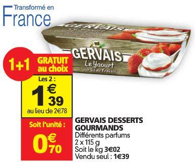 2x Yaourts Gervais Desserts Gourmand