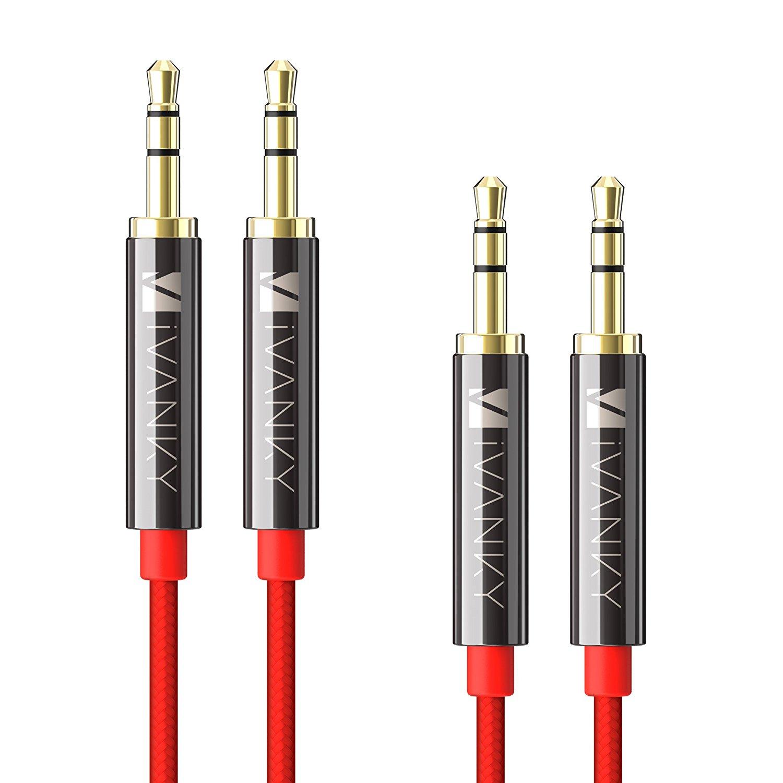 Pack de 2 câbles Audio Jack 3.5mm Mâle/mâle - 1.2m, Rouge (vendeur tiers)