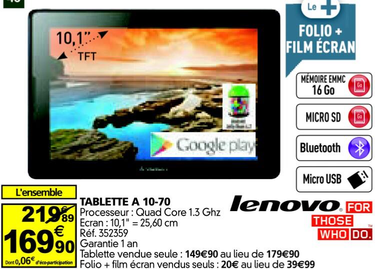 """Tablette 10.1"""" Lenovo A10-70 (avec ODR 30€)"""