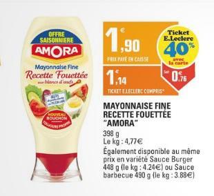 Pot de Mayonnaise Amora 398 gr (40% Ticket Leckerc + 0.40€ BDR)