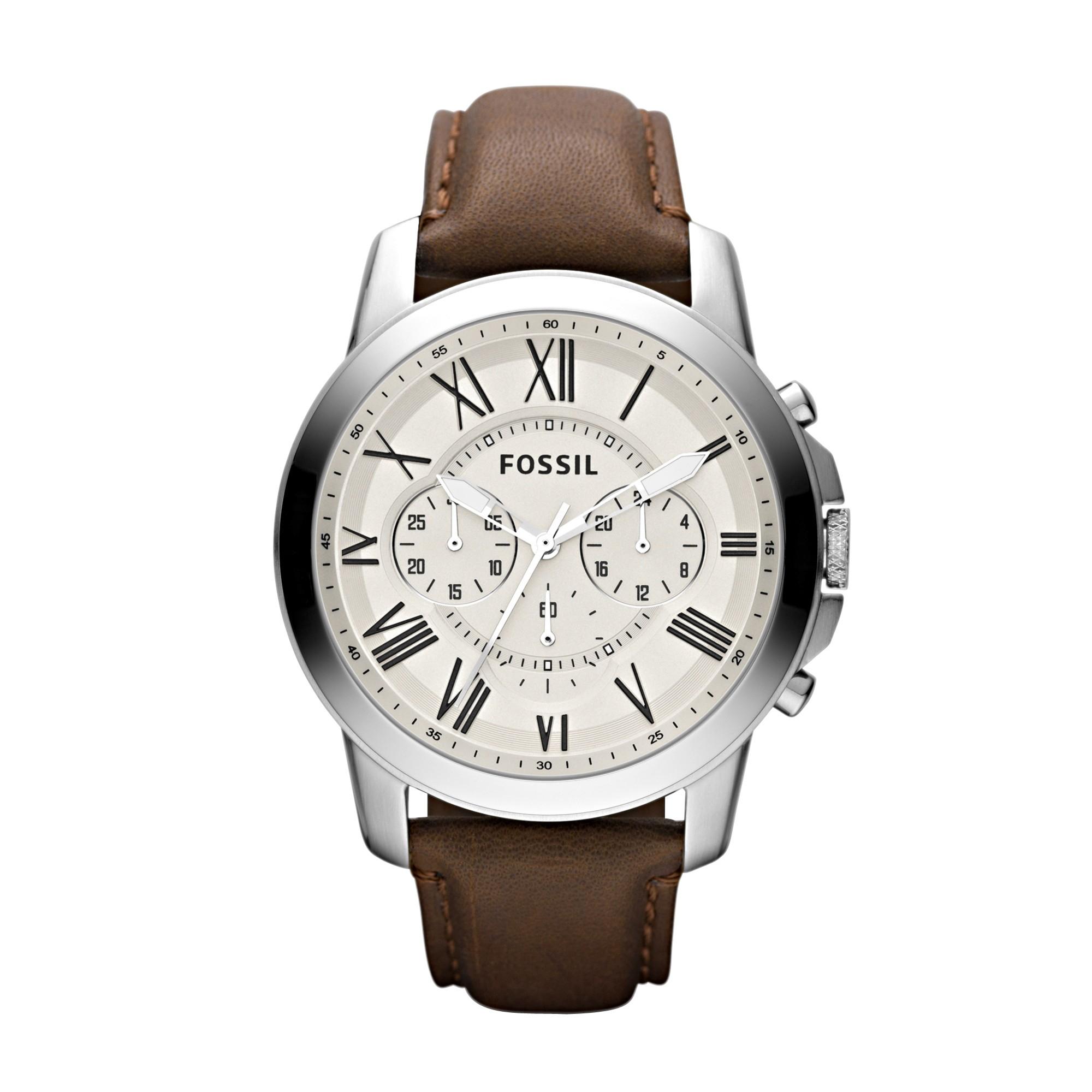 Montre Homme Fossil FS4735 - Quartz Chronographe, Bracelet en cuir véritable