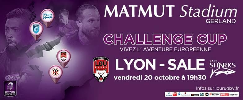 Places Gratuites pour le match LOU - SALE SHARKS au Matmut Stadium de Gerland le Vendredi 20 Octobre à 19h30.