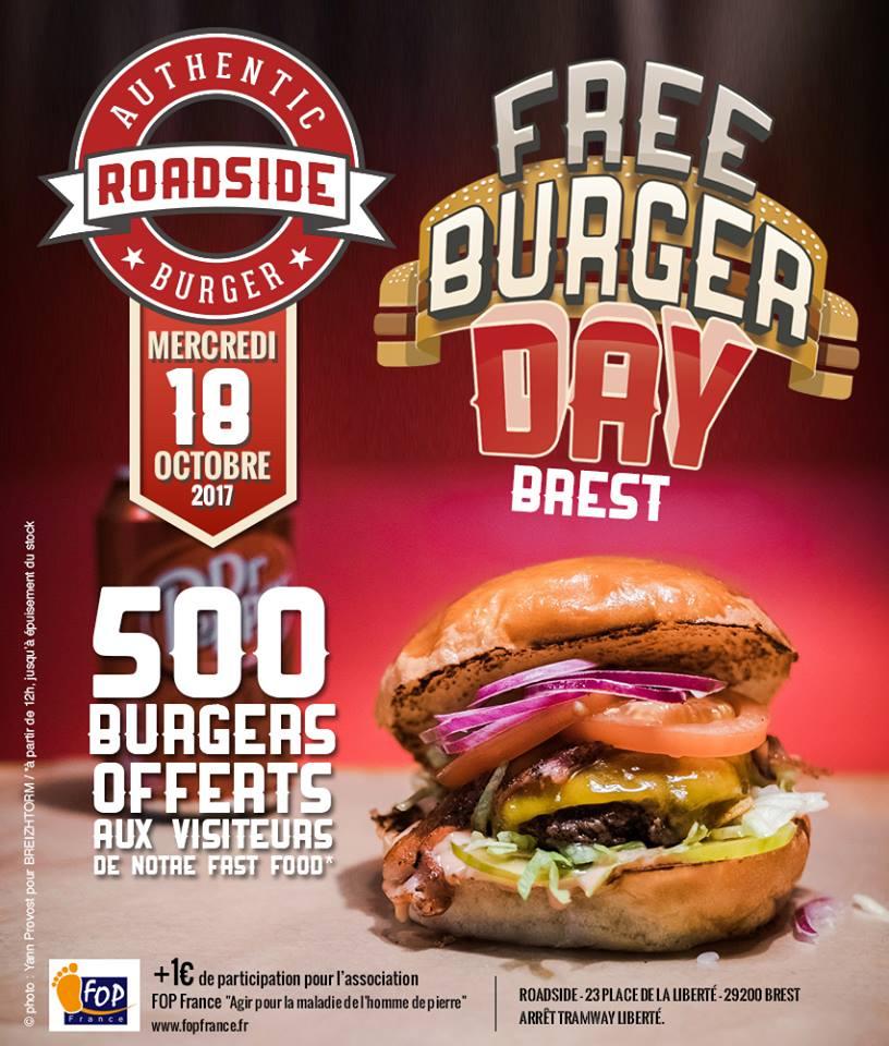 A partir de 12h mercredi 18 octobre : Cheesburger aux 500 premiers visiteurs (Roadside Brest - 29)