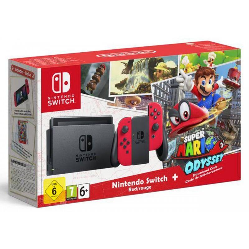 Pack Console Nintendo Switch (avec paire de Joy-Con rouges) + Super Mario Odyssey (dématérialisé)