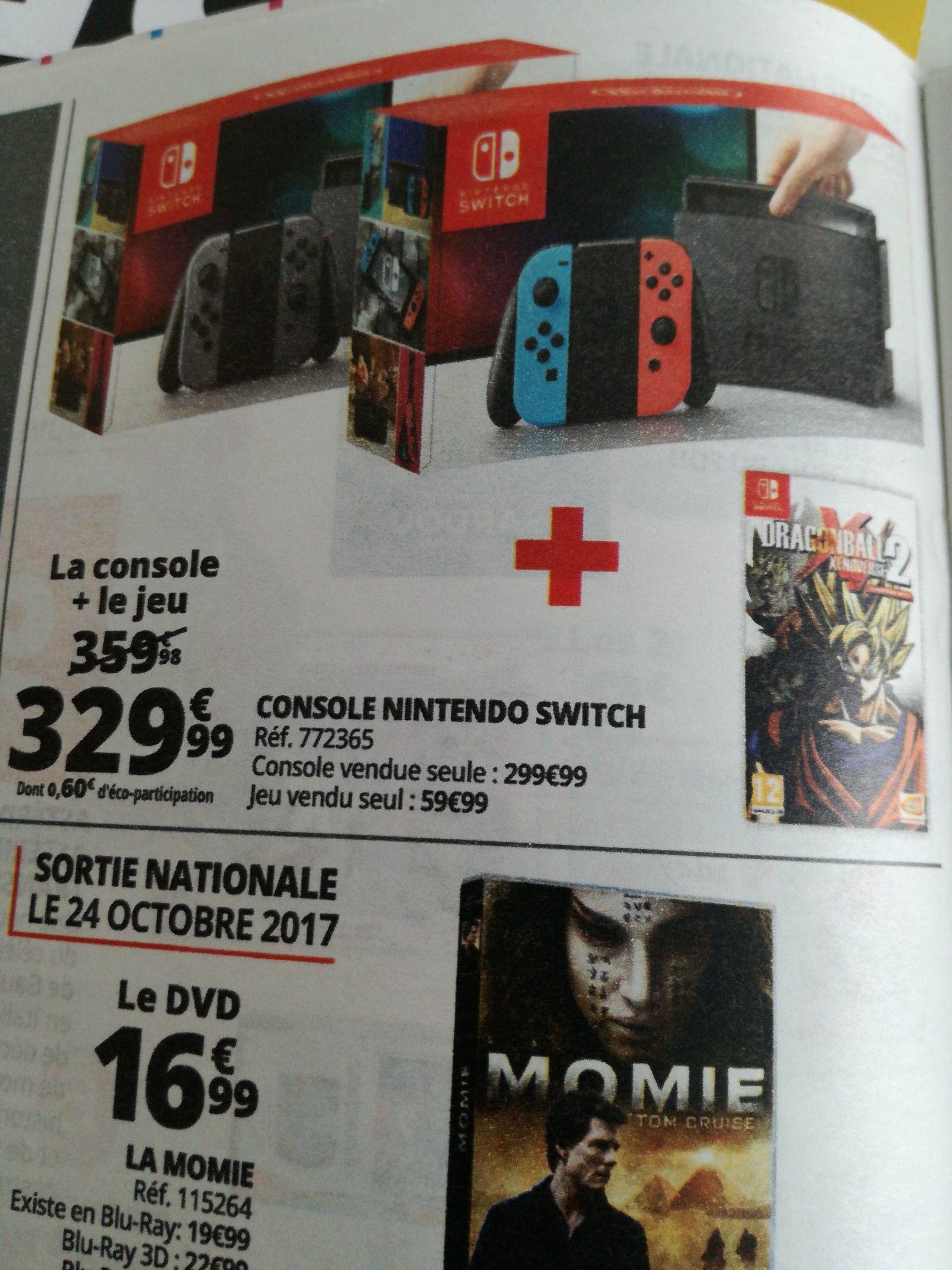 Console Nintendo Switch - avec paire de Joy-Con (gris ou bleu / rouge) + Dragon Ball Xenoverse 2
