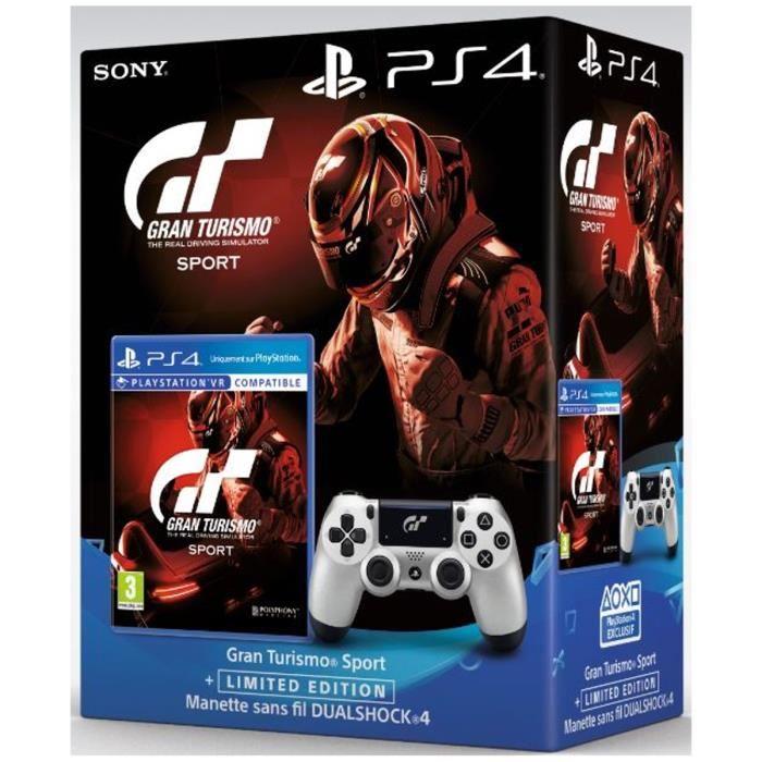 Gran Turismo Sport sur PS4 + Manette DualShock 4 Silver GT Sport + Qui es-tu ? (Jeu à télécharger)