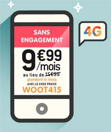 Forfait Appels, SMS, MMS illimités + 3 Go de data 4G (pendant 6 mois)