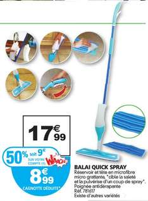 Balai serpillière Spontex Quick Spray (avec 9€ sur la carte fidélité)