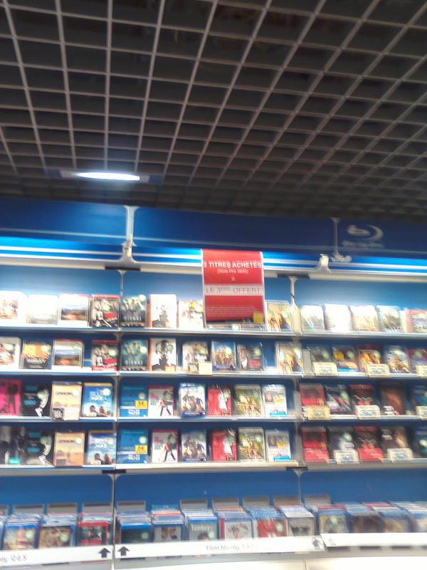 2 DVD ou blu-ray achetés,  le 3 ème offert sur une sélection de DVD et blu-ray