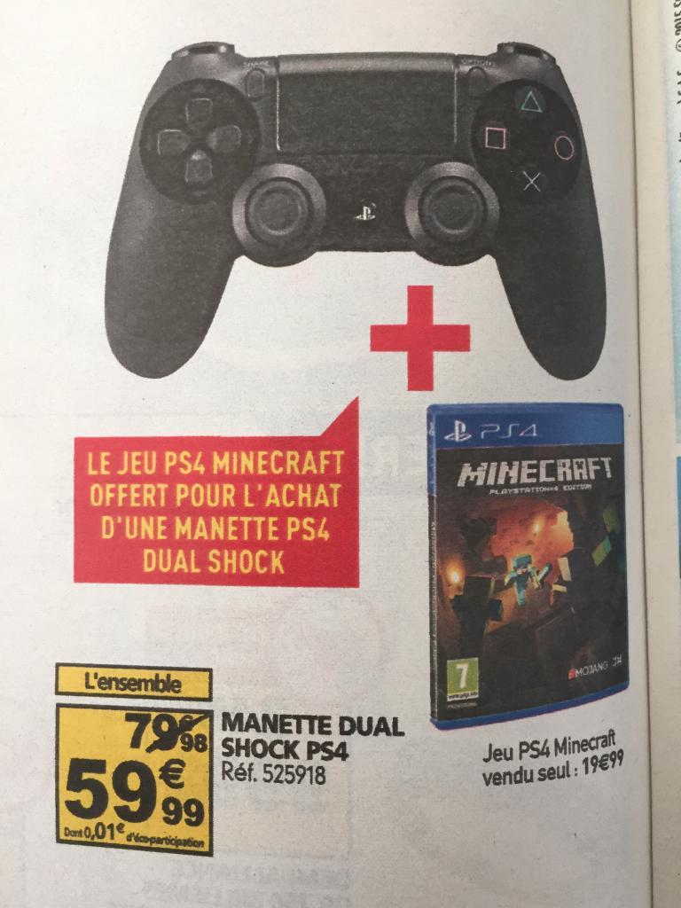 Manette dual shock PS4 + jeu minecraft