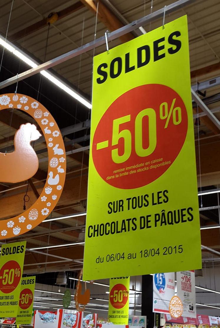 50% de réduction sur les chocolats de paques
