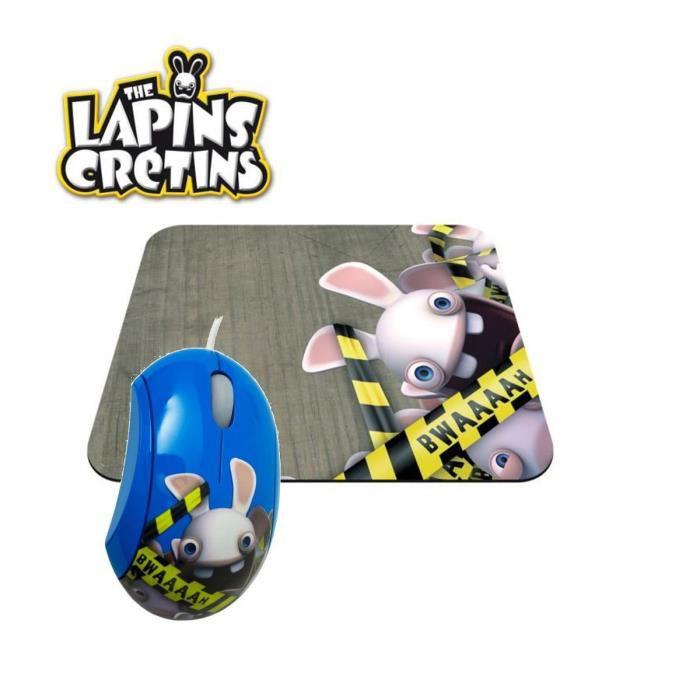 "Souris + Tapis de souris Steelseries ""Lapins Crétins Bwaaah"""