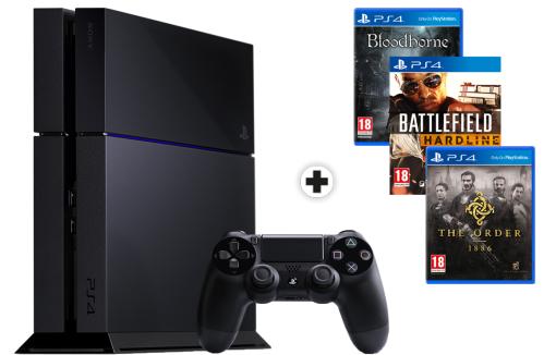 Pack Console PS4 500 Go Noire + 3 Jeux (BloodBorne, Battlefield Hardline, The Order:1886)