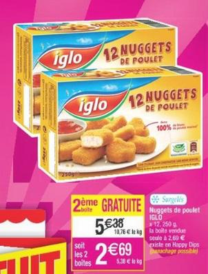 2 Boites de 12 Nuggets de poulet Iglo (Via BDR et C Wallet)