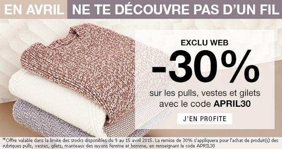 -30% sur les pulls, gilets, vestes et manteaux