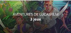 3 jeux Lucasfilms Adventures (The Secret of Monkey Island, Indiana Jones and the Fate of Atlantis, Sam & Max hit the road)