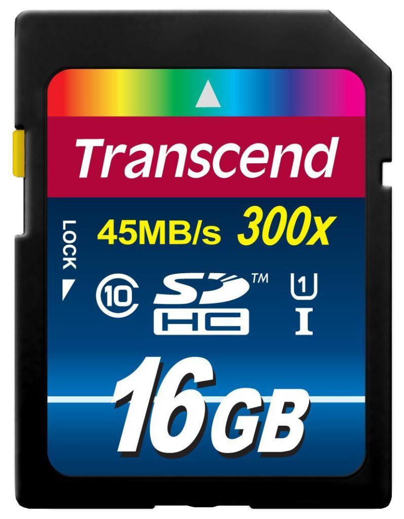 Carte mémoire SDHC Transcend TS16GSDU1 - 16 Go - Classe 10 - UHS-I x300 45MB/s