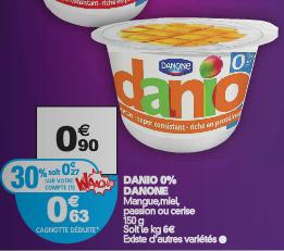Pot de yaourt Danone Danio 150g gratuit (avec gain)