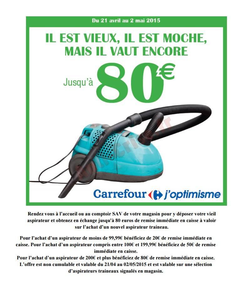 Jusqu'à 80€ de réduction pour l'achat d'un nouvel aspirateur en ramenant votre ancien aspirateur