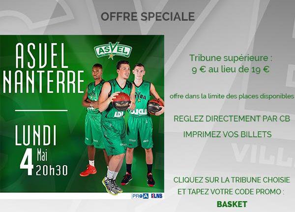 Billet pour le match de Basketball Asvel-Nanterre (4 Mai 2015)