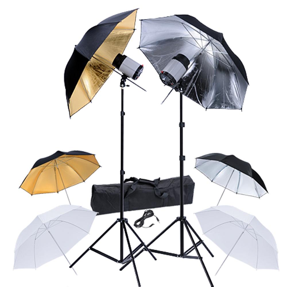 Kit 2 flashes studio120Ws avec 6 parapluies & 2 trépieds