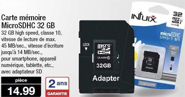 Carte microSD Intuix 32 Go - Classe 10