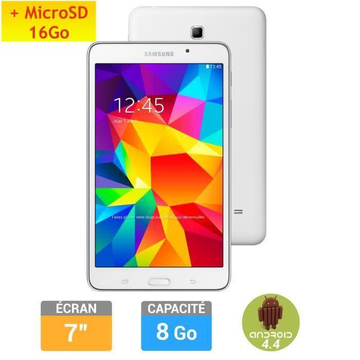 Tablette 7'' Samsung Galaxy Tab 4 Blanche + Carte microSDHC PNY 16Go (Avec ODR de 30€)