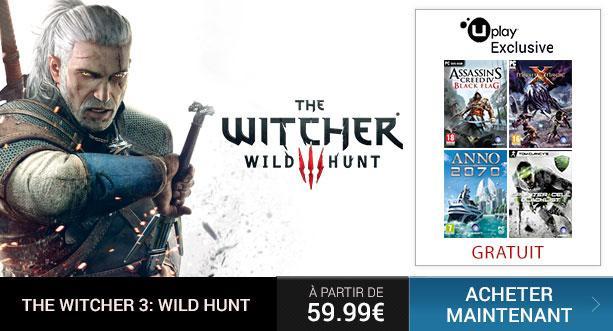 The Witcher 3 sur PC + Un jeu Ubisoft gratuit parmi une sélection (AC IV, Might & Magic, Splinter Cell Blacklist)
