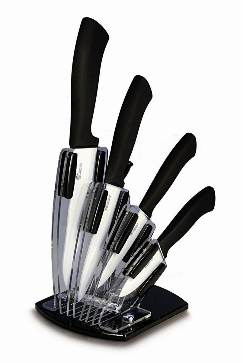 Bloc Plexi de 4 Couteaux / Lame Céramique + Éplucheur Lame Céramique Pradel Excellence