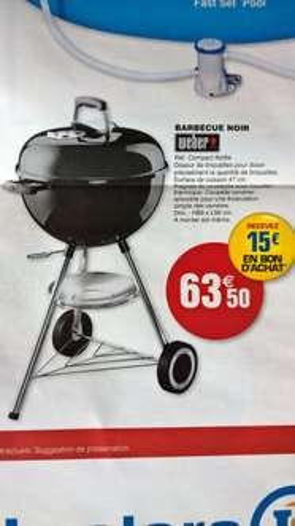 Barbecue Weber Compact Kettle 47 cm (+ 15€ en bon d'achat)