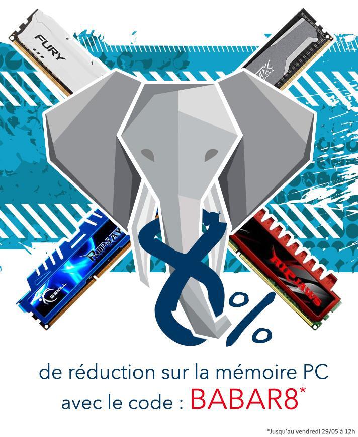 8% de réduction sur la mémoires PC