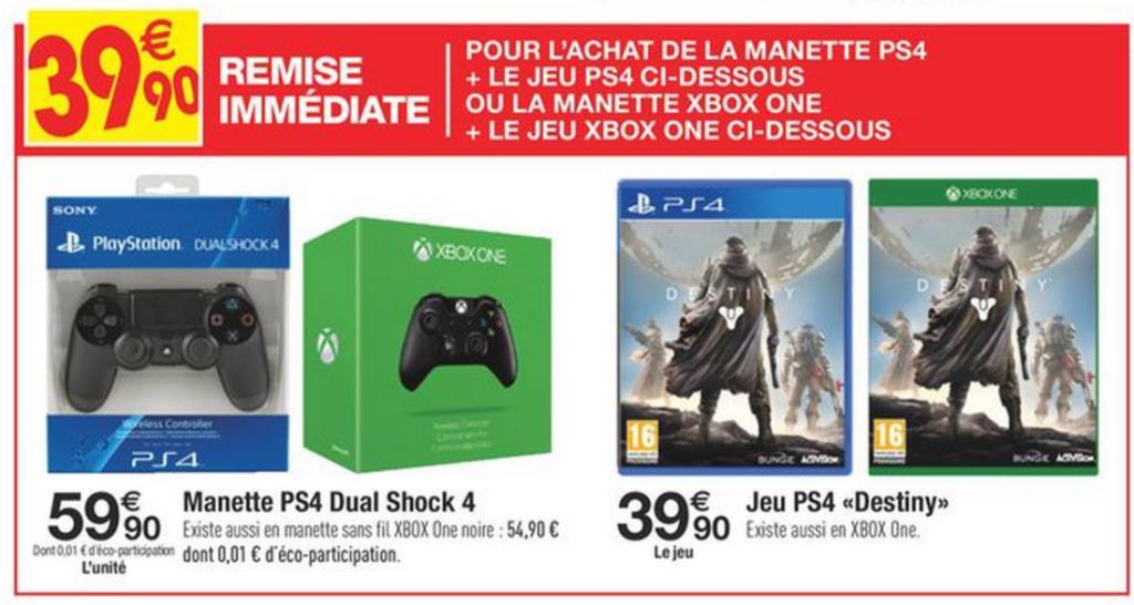 Manette console (Sony PS4 ou Microsoft Xbox One) + Jeu Destiny